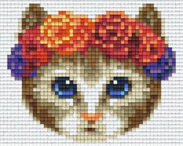 801375 Chat couronne fleurs