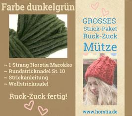 """Strickpaket """"Groß"""" Ruck-Zuck-Mütze in der Farbe 109 (dunkel grün)"""
