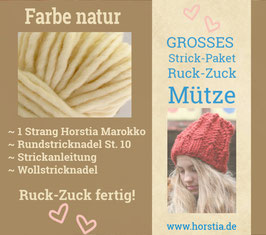 """Strickpaket """"Groß"""" Ruck-Zuck-Mütze in der Farbe 117 (natur)"""