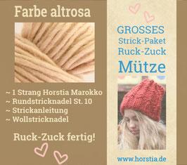 """Strickpaket """"Groß"""" Ruck-Zuck-Mütze in der Farbe 116 (altrosa)"""