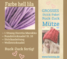 """Strickpaket """"Groß"""" Ruck-Zuck-Mütze in der Farbe 113 (hell lila)"""