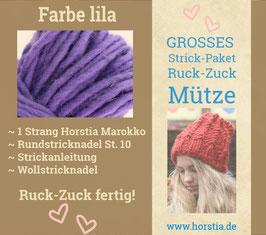 """Strickpaket """"Groß"""" Ruck-Zuck-Mütze in der Farbe 112 (lila)"""