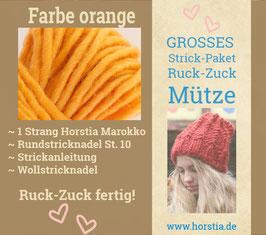 """Strickpaket """"Groß"""" Ruck-Zuck-Mütze in der Farbe 121 (leuchtend orange)"""