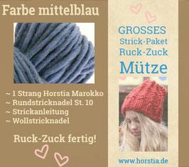 """Strickpaket """"Groß"""" Ruck-Zuck-Mütze in der Farbe 111 (mittel blau)"""