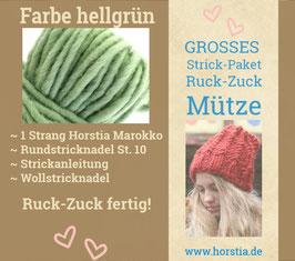 """Strickpaket """"Groß"""" Ruck-Zuck-Mütze in der Farbe 107 (hell grün)"""