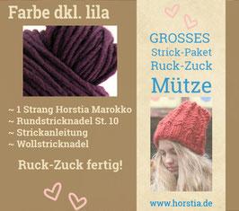"""Strickpaket """"Groß"""" Ruck-Zuck-Mütze in der Farbe 104 dunkel lila"""