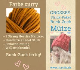 """Strickpaket """"Groß"""" Ruck-Zuck-Mütze in der Farbe 106 (curry)"""