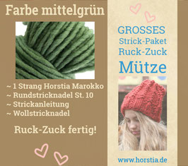 """Strickpaket """"Groß"""" Ruck-Zuck-Mütze in der Farbe 108 (mittel grün)"""