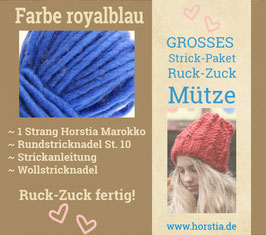"""Strickpaket """"Groß"""" Ruck-Zuck-Mütze in der Farbe 120 (royalblau)"""
