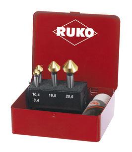 Kegel- und Entgratsenker-Satz DIN 335 Form C 90° HSS-TiN in Industriekassette RUKO102151T