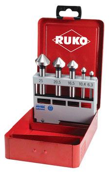 Kegel- und Entgratsenker-Satz DIN 335 Form C 90° HSS für Aluminium in Industriekassette RUKO102154A