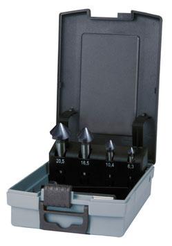 Kegel- und Entgratsenker-Satz DIN 335 Form C 90° HSS-TiAlN in ABS-Kunststoffkassette RUKO102154FRO
