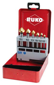 Kegel- und Entgratsenker-Satz DIN 335 Form C 90° HSS TiN in Industriekassette RUKO102152T