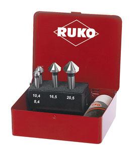 Kegel- und Entgratsenker-Satz DIN 335 Form C 90° HSS für Aluminium in Industriekassette RUKO102151A