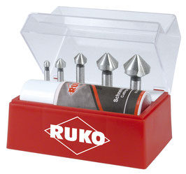Kegel- und Entgratsenker Satz DIN 335 Form C 90° HSSE-Co 5 in Kunststoffkassette RUKO102142E