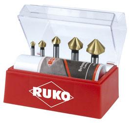 Kegel- und Entgratsenker Satz DIN 335 Form C 90° HSS-TiN in Kunststoffkassette RUKO102142T