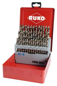 Spiralbohrer-Satz DIN 338 Typ N HSS-G Co 5  in Industriekassette RUKO215218