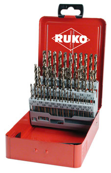Spiralbohrer-Satz DIN 338 Typ N HSS-G Co 5 in Industriekassette RUKO215217