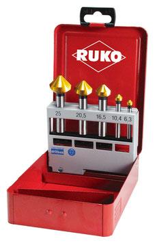 Kegel- und Entgratsenker-Satz DIN 335 Form C 90° HSS-TIN in Industriekassette RUKO102154T