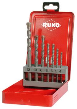 Schlagbohrer-Satz mit Hartmetallspitze und Zylinderschaft ISO 5468 - DIN 8039 in Industriekassette RUKO205256