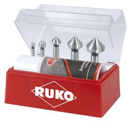 Kegel- und Entgratsenker Satz DIN 335 Form C 90° HSS für Aluminium in Kunststoffkassette RUKO102142