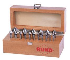 Kegel- und Entgratsenker-Satz DIN 335 Form C 90° HSS in Holzkassette RUKO102155