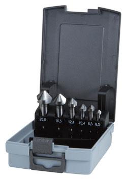 Kegel- und Entgratsenker-Satz DIN 335 Form C 90° Hartmetall in ABS-Kunststoffkassette RUKO102152HMRO