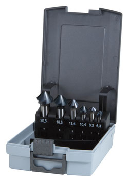 Kegel- und Entgratsenker-Satz DIN 335 Form C 90° HSS-TiAlN in ABS-Kunststoffkassette RUKO102152FRO