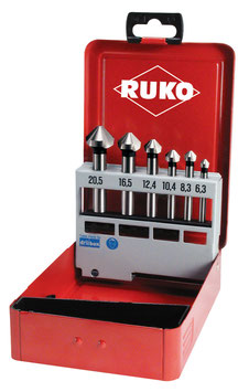 Kegel- und Entgratsenker-Satz DIN 335 Form C 90° Hartmetall in Industriekassette RUKO102152HM