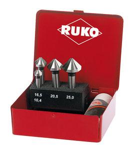 Kegel- und Entgratsenker-Satz DIN 335 Form C 90° HSS für Aluminium in Industriekassette RUKO102150A