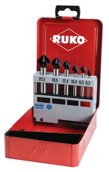 Kegel- und Entgratsenker-Satz DIN 335 Form C 90° HSS-TiAlN in Industriekassette RUKO102152F