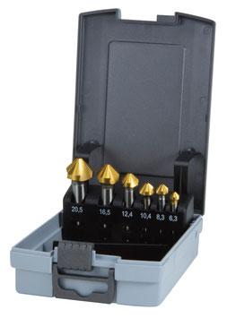 Kegel- und Entgratsenker-Satz DIN 335 Form C 90° HSS-TiN in ABS-Kunststoffkassette RUKO102152TRO