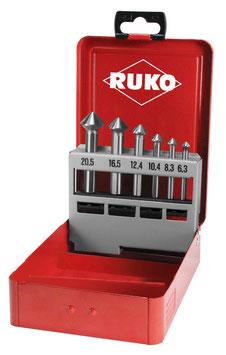 "Kegel- und Entgratsenker-Satz ""QUICKCut"" DIN 335 Form C 90° HSS in Industriekassette RUKO102752"
