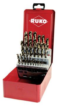 Spiralbohrer-Satz DIN 338 Typ N HSS-G Co 5  in Industriekassette RUKO215215