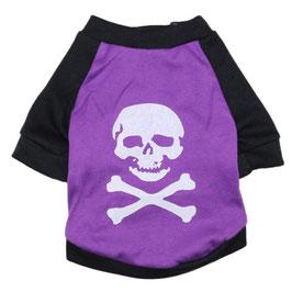 T-Shirt Skull violett weiß