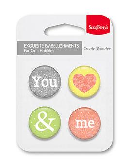 4 Badges autocollant You&Me