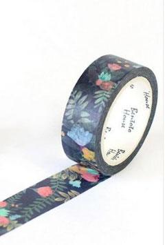 "Masking tape ""Feuillages fond noir"""