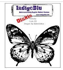 Rubber Stamp Indigo Blue A7_ Flutterby