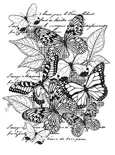 Rubber Stamps A7 - Butterflies and Leaves
