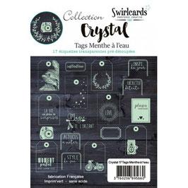 17 étiquettes pré-découpés - Menthe à l'eau - Crystal - Swirlcards