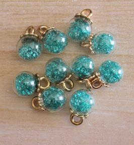 Mini globe verre & strass_Turquoise
