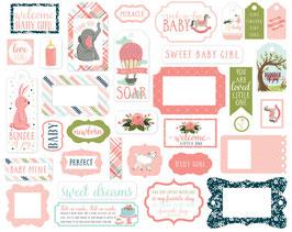 Rock-A-Bye Baby Girl Frames & Tags Ephemera - Carta Bella