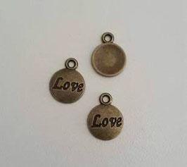 "breloque ronde Bronze ""Love"""