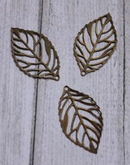 Mini Breloque feuille Bronze