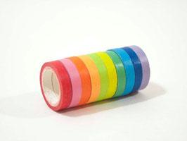 10 rouleaux masking tape couleur arc-en-ciel