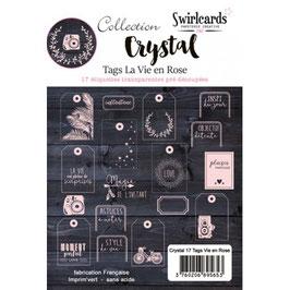 17 étiquettes pré-découpés - La vie en rose - Crystal - Swirlcards