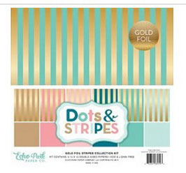Echo Park Gold Foil Stripes 30*30cm