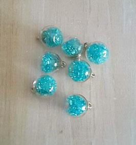 Mini globe verre & strass_bleu ciel