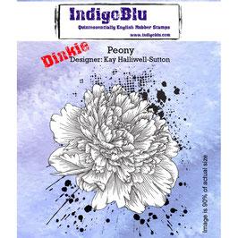 Rubber Stamp Indigo Blue A7_ Peony