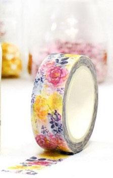 Masking tape Floral rose/jaune